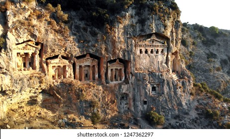 Rock-cut temple tombs in Kaunos Dalyan/Turkey