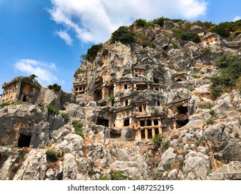 Rock-cut tombs in Myra Ancient City of Lycia. Demre Antalya Turkey