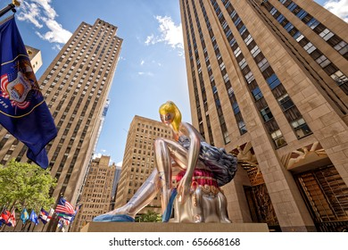 Rockefeller Center, New York City NY, USA. 3 June, 2017: Seated Ballerina by Jeff Koons