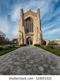 Rockefeller Chapel on the campus of the University of Chicago in Chicago, Illinois