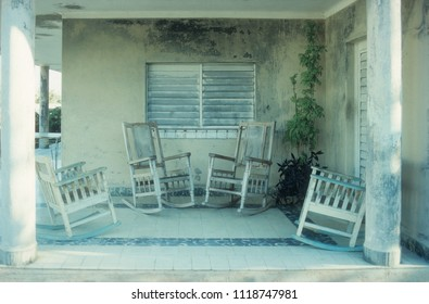 rocker chairs on chill out terasse in caribbean island