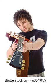 Rocker with his classic electric guitar
