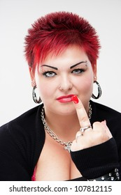 Rocker woman showing middle finger, scrooge you, fuck you