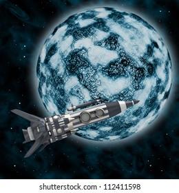 Rocket against the blue planet