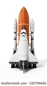 Rocket carrying space shuttle launches off. 3D illustration.