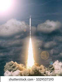Rocket and clouds. The elements of this image furnished by NASA.