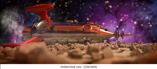 Rocket Crash - a comic rocketship with debris all over it crashed on a moon - 3D rendering