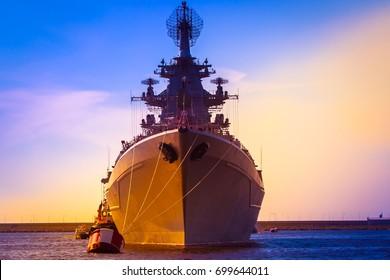 Rocket cruiser. A modern warship. The military cruiser.