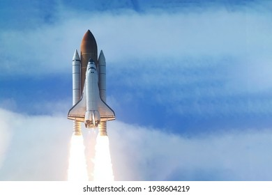 Rocket launch into open space. Elements of this image were furnished by NASA.