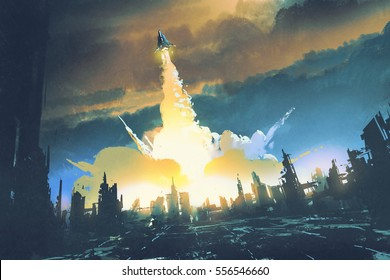rocket launch take off from an abandoned city,sci-fi concept,illustration painting