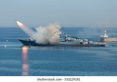 Rocket launch from warship. Start anti-ship missile from russian military cruiser