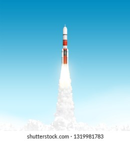Rocket launching in blue sky. Elements of this image furnished by NASA