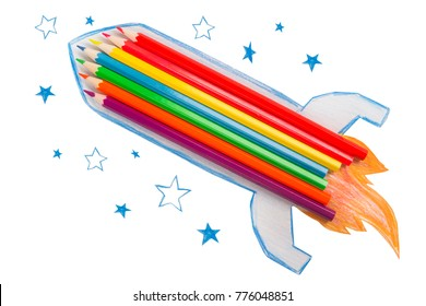 rocket made from pencils on a white background
