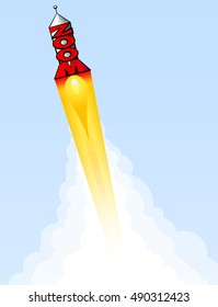 A rocket made of the word zoom blasts off into the sky.