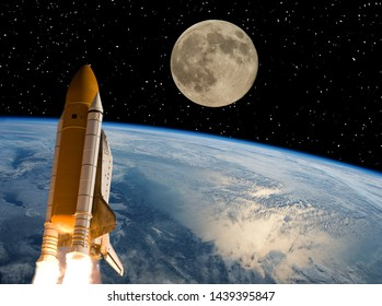 Rocket and moon. Earth on the backdrop. The elements of this image furnished by NASA.