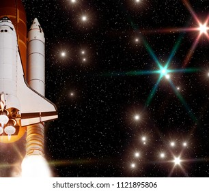 Rocket (shuttle) and galaxy. The elements of this image furnished by NASA.