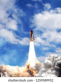 Rocket spaceship. The elements of this image furnished by NASA.