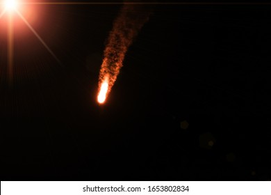 Rocket. Rocket tail. Rocket light. The elements of this image furnished by NASA.