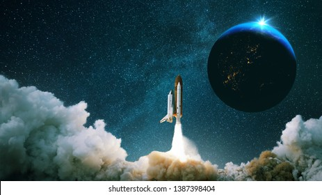 Rocket takes off into space with the planet. Spacecraft performs the space mission. Ship takes off into the starry sky.