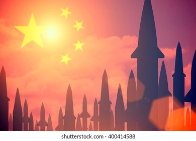Rockets silhouettes background China flag. Toned