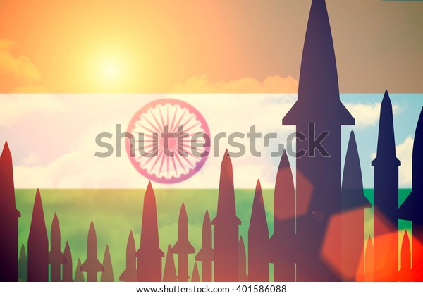 Rockets silhouettes background India flag. Toned