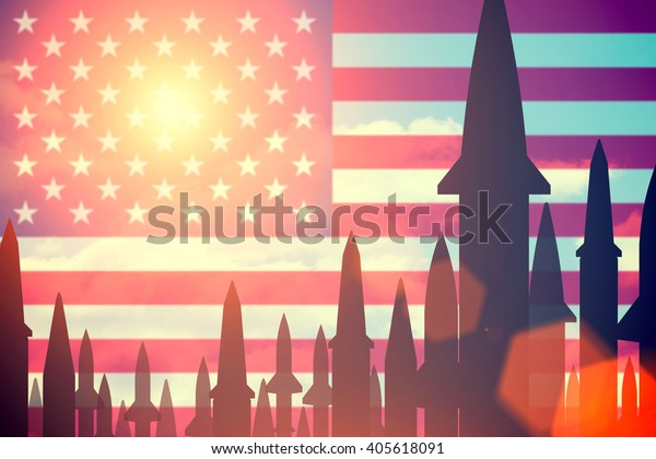 Rockets silhouettes background United States of America flag. Toned