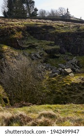 Rockface in dangerous, unfenced disused quarry in Yorkshire