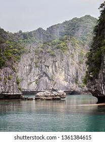 Rockface in Halong Bay