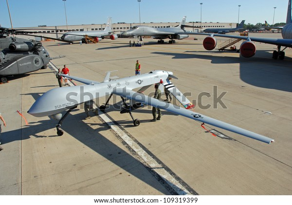 ROCKFORD, IL- JUNE 2: MQ-1 Predator Drone being rolled into position as a static display on June 2, 2012 for the Rockford AirFest in Rockford, IL.