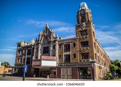 Rockford, IL, USA - June 4, 2017: The historic Midway Theatre in town