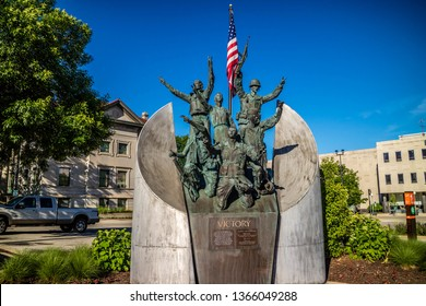 Rockford, IL, USA - June 4, 2017: A victory monument in honor for their sacrifices
