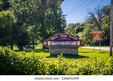 Rockford, IL, USA - June 4, 2017: A welcoming signboard at the entry point of Midway Village Museum