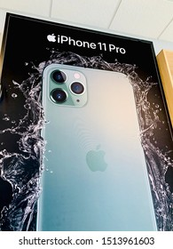 Rockford, illinois / USA.-Sep 23,2019: The Apple iPhone11 Pro Max label has been posted for AT&T phone shops. new mitnigth green with apple product .