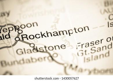 Rockhampton. Australia on a map