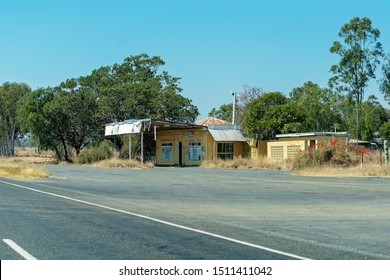 Rockhampton, Queensland, Australia - 16th September 2019: An old highway petrol station abandoned due to lack of business