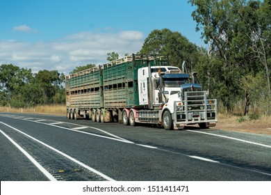 Rockhampton, Queensland, Australia - 16th September 2019: Semi-trailer transportation on the highway carrying cattle to the sale yards