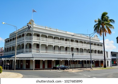 Rockhampton, Queensland, Australia - December 28, 2017. Historic building dating from 1898, occupied by Heritage Hotel, on the corner of Quay and William Streets in Rockhampton, QLD.
