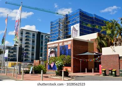 Rockhampton, Queensland, Australia - December 28, 2017. Exterior view of Rockhampton Art Gallery, with construction site, crane and surrounding buildings.