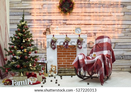 Amazing Rocking Chair Christmas Tree By Fireplace Stock Photo Edit Machost Co Dining Chair Design Ideas Machostcouk
