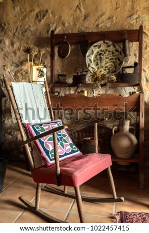 Fabulous Rocking Chair Old Rural House Walls Stock Photo Edit Now Ibusinesslaw Wood Chair Design Ideas Ibusinesslaworg
