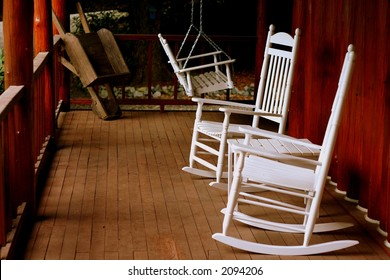 Rocking chairs on a porch