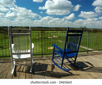 Rocking Chairs on Porch Overlooking Golf Course