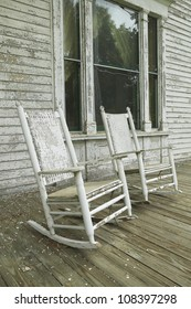 Rocking chairs on porch of a southern house in Central Georgia