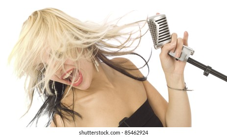 Rocking singer with wild hair and microphone