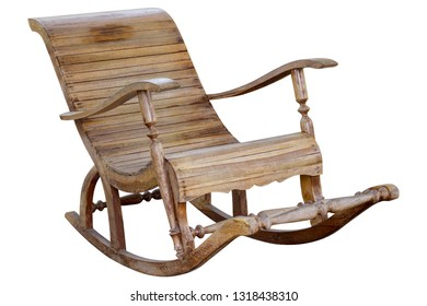 rocking wooden chair isolated on white background with clipping path