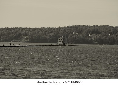 Rockland Breakwater Lighthouse in Maine.  Nearly a mile walk out to this beautiful lighthouse with attached keepers house.