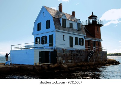 Rockland Breakwater Lighthouse:  Rockland, Maine / Painting by Light