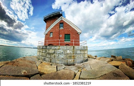 Rockland Breakwater Lighthouse in Rockland, Maine USA
