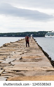 ROCKLAND, MAINE - September 20, 2015:  Rockland, Maine, with a population of 7,297. is a popular tourist destination and is a departure point for the Maine State Ferry Service.