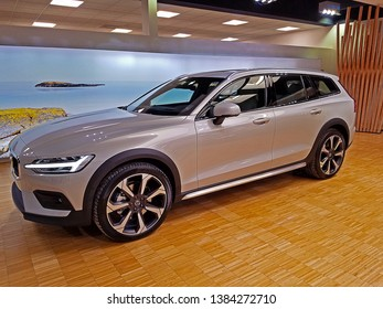 ROCKLEIGH, NEW JERSEY - FEBRUARY 20, 2019: The newly introduced 2019 Volvo V60. This is Volvo's smallest and newest station wagon. This long-roof is a T5 all-wheel-drive Cross Country model.
